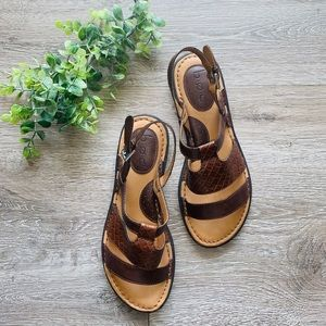 Brown Weaved Leather Sandals